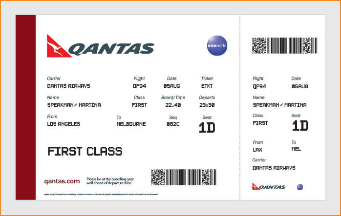 Airline Boarding Pass Template Airline Boarding Pass Ticket For – Printable Fake Airline Tickets