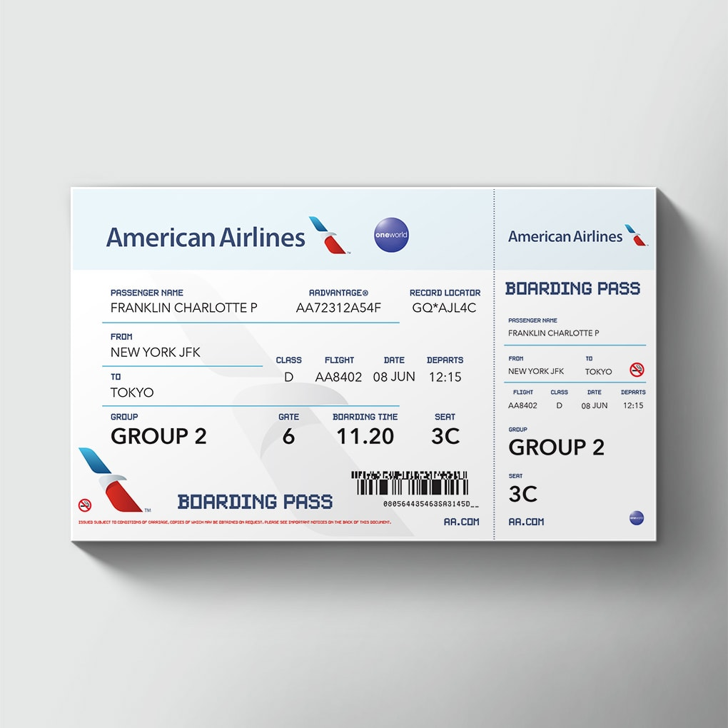 Large Airline Tickets Order Giant Novelty Printed Airline ...